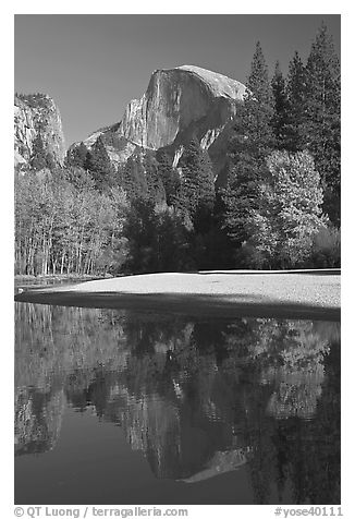 Half Dome reflected in Merced River in the fall. Yosemite National Park (black and white)