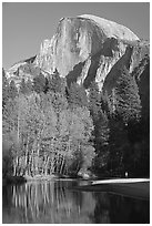 Banks of  Merced River with hiker below Half-Dome. Yosemite National Park, California, USA. (black and white)