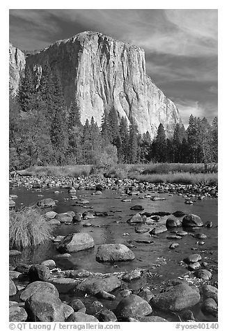 Pebbles, Merced River, and El Capitan, morning. Yosemite National Park (black and white)