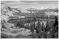 May Lake, granite domes, and forest. Yosemite National Park, California, USA. (black and white)