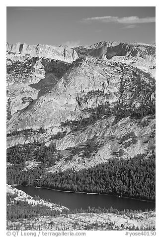 Domes above Tenaya Lake. Yosemite National Park (black and white)