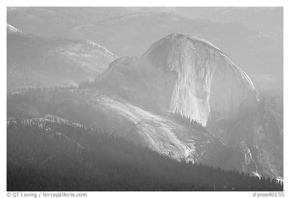 Hazy view of Half-Dome. Yosemite National Park (black and white)