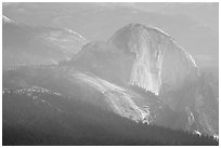 Hazy view of Half-Dome. Yosemite National Park ( black and white)