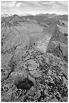 Frozen pot hole and summit cliffs, Mount Hoffman. Yosemite National Park ( black and white)