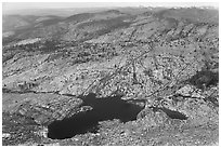 Lakes below Mount Hoffman. Yosemite National Park, California, USA. (black and white)