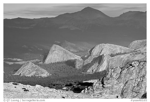 Distant view of Fairview and other domes, late afternoon. Yosemite National Park (black and white)