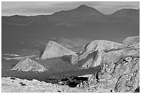 Distant view of Fairview and other domes, late afternoon. Yosemite National Park, California, USA. (black and white)