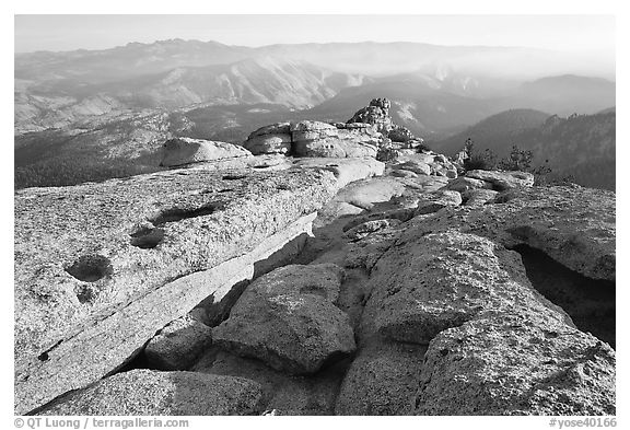 Summit of Mount Hoffman with hazy Yosemite Valley in the distance. Yosemite National Park (black and white)