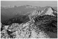 Sunset light over mountain ranges. Yosemite National Park ( black and white)