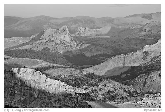 Cathedral Peak in the distance at sunset. Yosemite National Park (black and white)