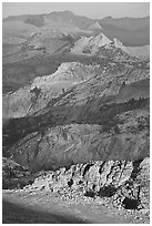 High country ridges at sunset. Yosemite National Park ( black and white)