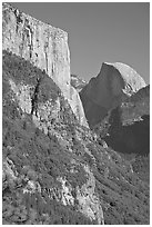 El Capitan and Half-Dome. Yosemite National Park, California, USA. (black and white)