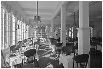 Dinning room, Wawona lodge. Yosemite National Park, California, USA. (black and white)