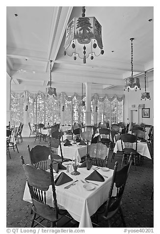 Dinning room, Wawona hotel. Yosemite National Park (black and white)