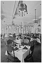 Dinning room, Wawona hotel. Yosemite National Park, California, USA. (black and white)