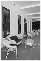 Chairs on porch, Wawona lodge. Yosemite National Park, California, USA. (black and white)