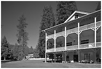 Wawona lodge. Yosemite National Park, California, USA. (black and white)