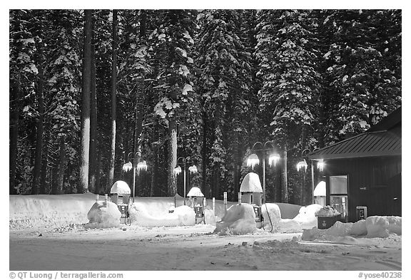 Crane Flat gas station with snow at dusk. Yosemite National Park (black and white)