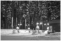 Crane Flat gas station with snow at dusk. Yosemite National Park, California, USA. (black and white)