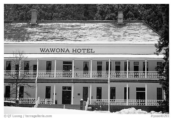 Wawona hotel in winter. Yosemite National Park (black and white)