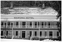 Wawona hotel in winter. Yosemite National Park, California, USA. (black and white)