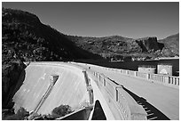 O'Shaughnessy Dam and Hetch Hetchy Reservoir. Yosemite National Park ( black and white)