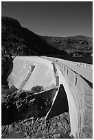 O'Shaughnessy Dam, Hetch Hetchy Valley. Yosemite National Park, California, USA. (black and white)