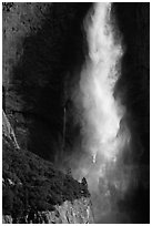 Falling water of Upper Yosemite Falls. Yosemite National Park ( black and white)