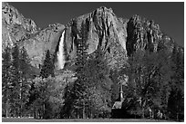 Yosemite Falls and Yosemite Chapel in spring. Yosemite National Park, California, USA. (black and white)