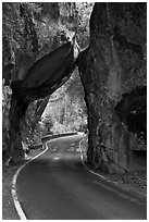 Road passing through Arch Rock, Lower Merced Canyon. Yosemite National Park, California, USA. (black and white)