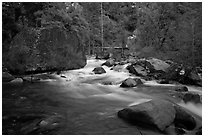 Merced River flowing past huge boulders, Lower Merced Canyon. Yosemite National Park ( black and white)