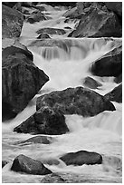 Boulders and rapids, Lower Merced Canyon. Yosemite National Park, California, USA. (black and white)