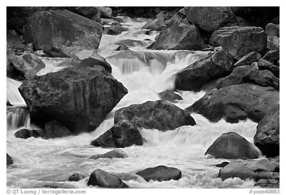 Cascades and boulders, Lower Merced Canyon. Yosemite National Park (black and white)