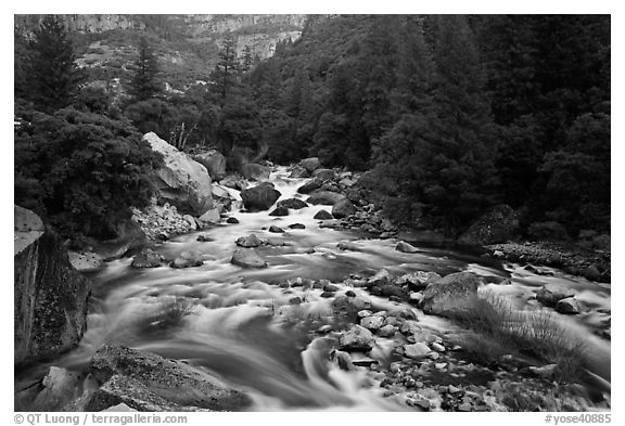 Lower Merced Canyon with wide Merced River. Yosemite National Park (black and white)