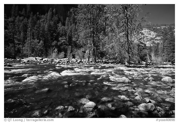 Wide stretch of Merced River in spring, Lower Merced Canyon. Yosemite National Park (black and white)
