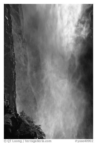 Falling water and spray, Bridalveil falls. Yosemite National Park (black and white)