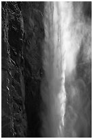 Falling water and mist,  Bridalveil fall. Yosemite National Park ( black and white)