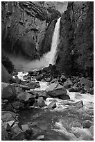 Lower Yosemite Falls in springtime. Yosemite National Park ( black and white)