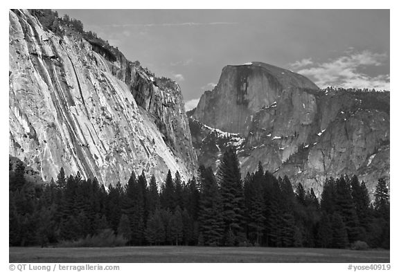 Seasonal waterfall on Royal Arches and Half-Dome. Yosemite National Park (black and white)