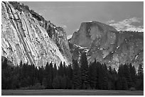 Seasonal waterfall on Royal Arches and Half-Dome. Yosemite National Park ( black and white)