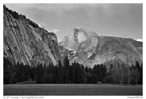 Seasonal waterfall and Half-Dome from Awhanhee Meadow. Yosemite National Park (black and white)