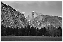 Seasonal waterfall and Half-Dome from Awhanhee Meadow. Yosemite National Park ( black and white)