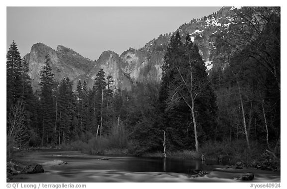 Merced River and Cathedral rocks at dusk. Yosemite National Park (black and white)