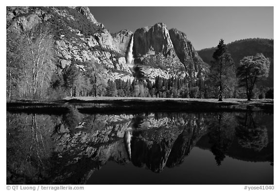 Yosemite Falls and meadow reflected in a seasonal pond. Yosemite National Park (black and white)