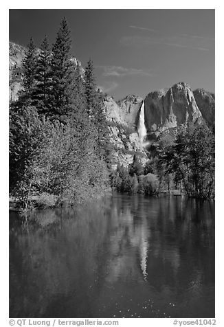 Yosemite Falls and Merced River. Yosemite National Park (black and white)