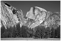 Half Dome and Washington Column from Ahwanhee Meadow in Spring. Yosemite National Park, California, USA. (black and white)