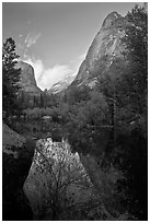 Mirror Lake and Ahwiyah Point in the Spring, late afternoon. Yosemite National Park, California, USA. (black and white)