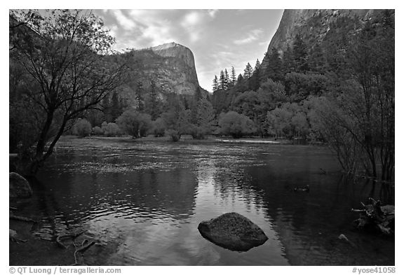 Mt Watkins at sunset, Mirror Lake. Yosemite National Park (black and white)