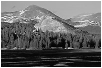 Lambert Dome and mountain, spring, Tuolumne Meadows. Yosemite National Park, California, USA. (black and white)