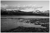 Flooded meadow in early spring at sunset, Tuolumne Meadows. Yosemite National Park, California, USA. (black and white)